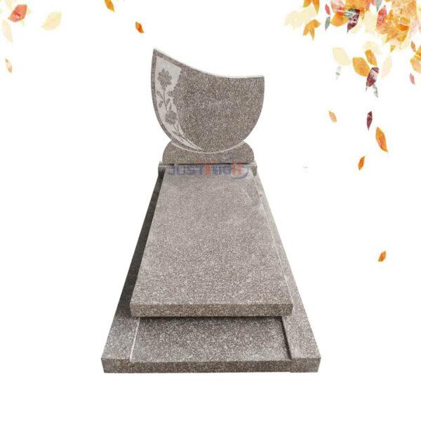 Pierre tombale en GRANIT G635 avec fleur sculptée