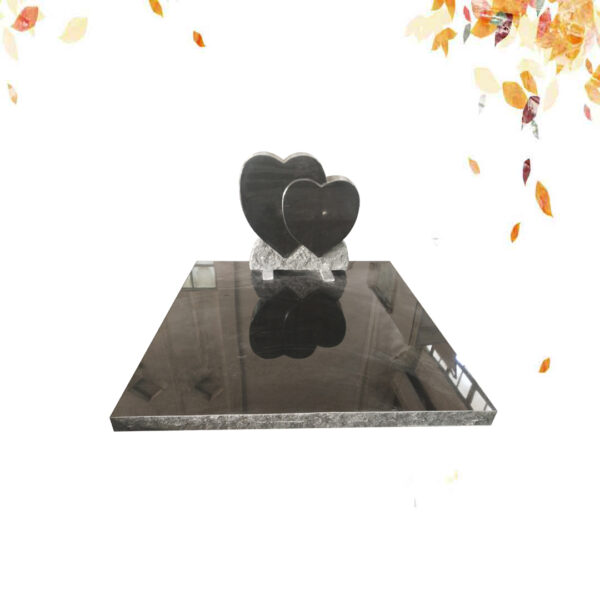 Double pierre tombale en granit noir en forme de cœur