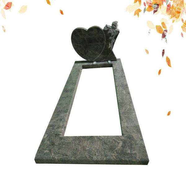 Pierre tombale sculptée en forme de coeur de granit bleu de l'Himalaya en gros