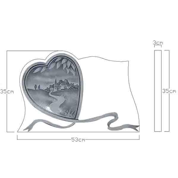 plaque funéraire forme coeur CAO