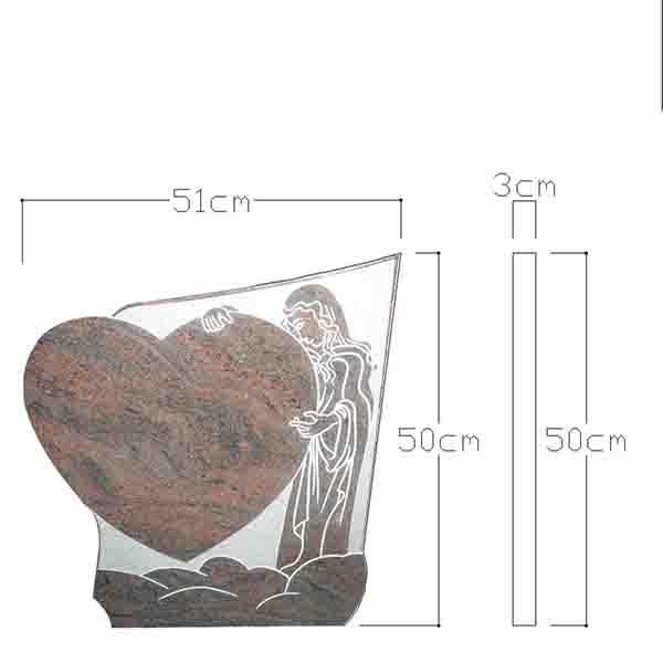 plaque funeraire en forme de coeur CAO
