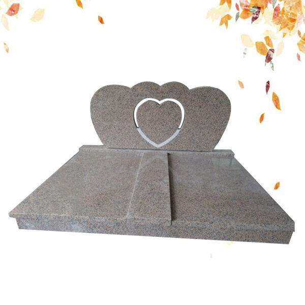 pierre tombale double stele forme en coeur